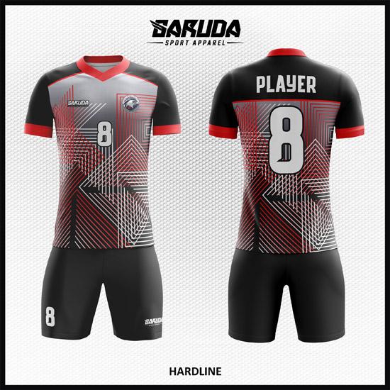 Desain Jersey Sepakbola Full Printing Motif Garis Yang Fleksibel