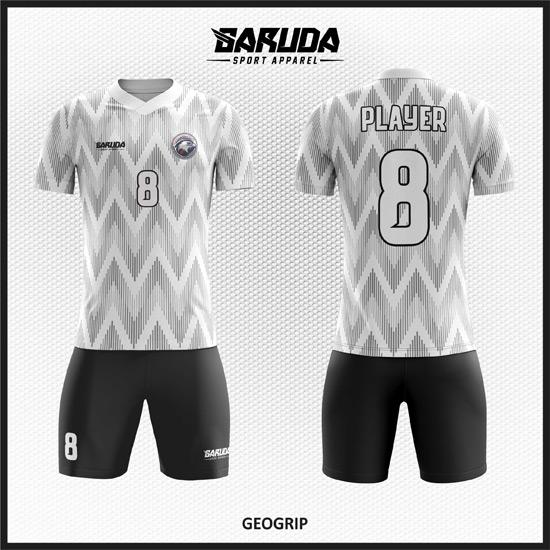 Desain Jersey Futsal Motif Bergelombang Warna Putih Abu Abu