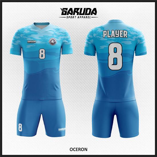 Desain Baju Futsal Full Print Warna Biru Laut Yang Elegan