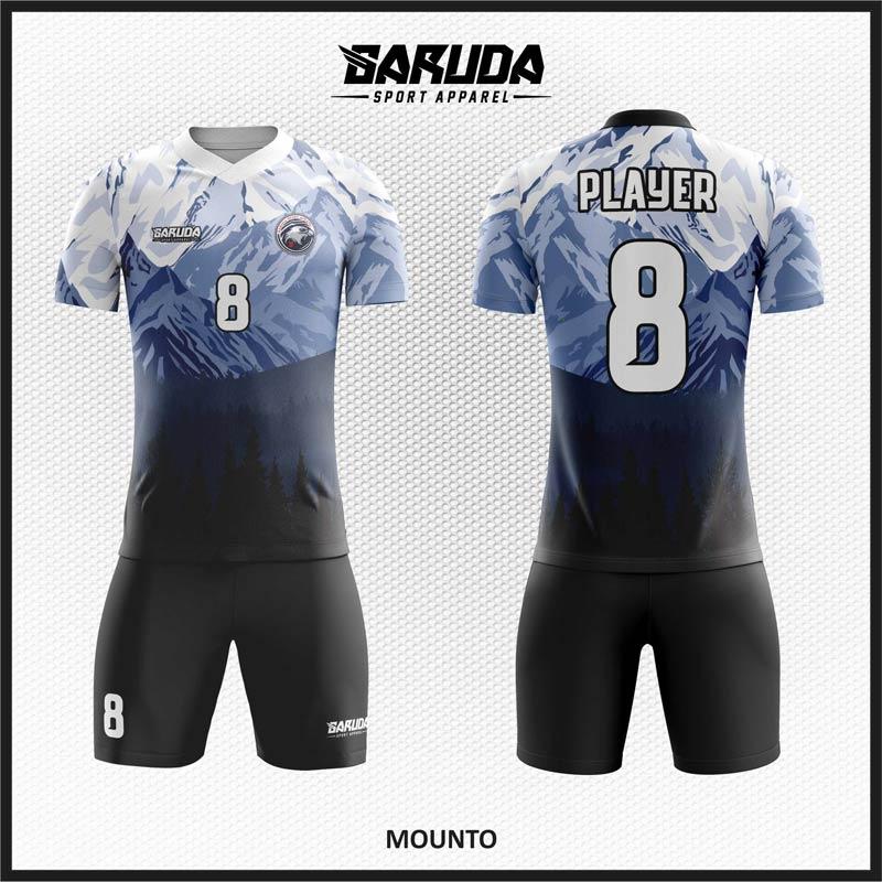 Desain Baju Sepakbola Warna Hitam Putih Motif Pegunungan Salju Yang Gagah