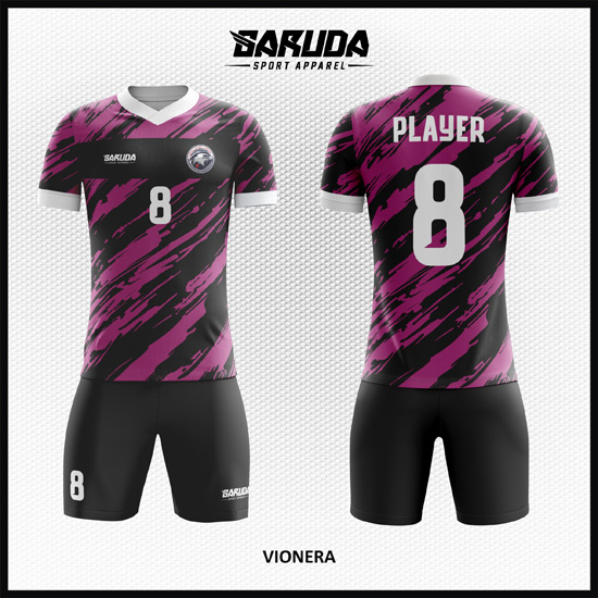 Desain Baju Bola Futsal Full Print Warna Hitam Ungu Paling Keren