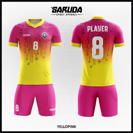 Desain Baju Futsal Printing Warna Kuning Pink Cantik Banget