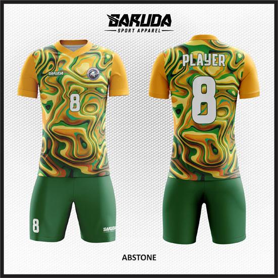 Desain Jersey Sepak Bola Printing Warna Kuning Hijau Bergelombang Yang Unik