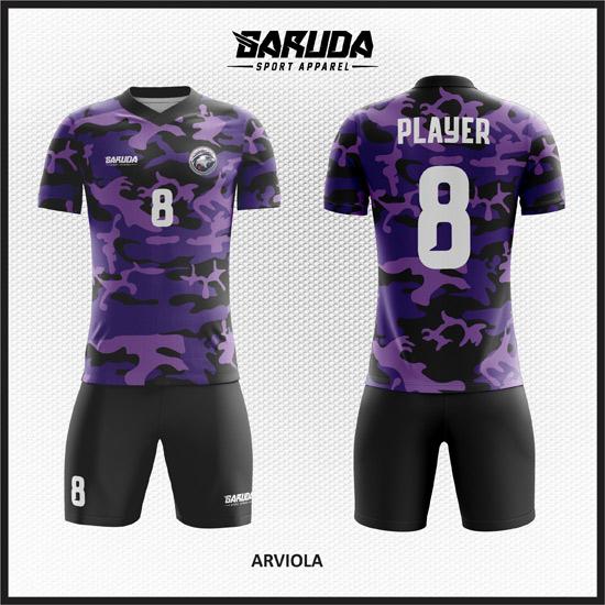 Desain Baju Futsal Full Print Motif Doreng Army Warna Ungu Hitam
