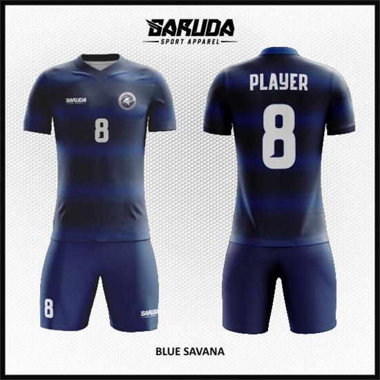 Desain Jersey Sepakbola Printing Warna Biru Minimalis
