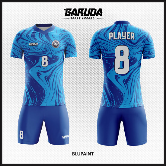 Desain Jersey Futsal Full Print Warna Biru Bergelombang Yang Unik