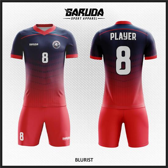 Desain Baju Sepakbola Printing Warna Biru Merah Minimalis