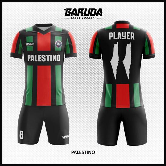 Desain Kaos Futsal Full Print Warna Merah Hijau Hitam Palestina