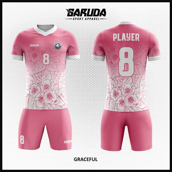 Desain Baju Futsal Motif Bunga Warna Pink