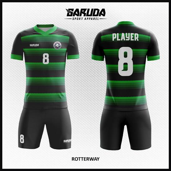 Desain Jersey Bola Futsal Warna Hitam Hijau Tampil Dinamis