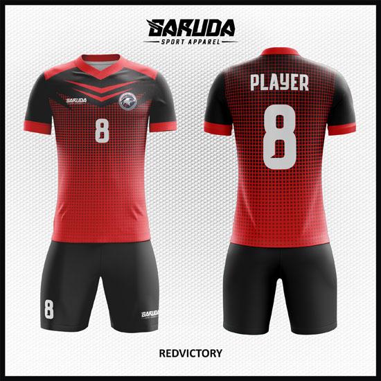 Desain Jersey Bola Futsal Warna Merah Hitam Tampil Elegan