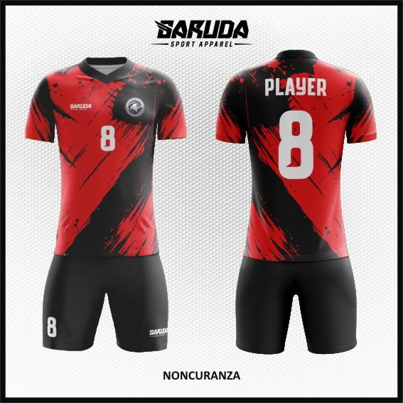 Desain Jersey Futsal Printing Warna Merah Hitam Untuk Tampil Beda