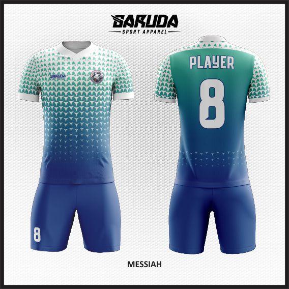 Desain Kaos Futsal Printing Gradasi Warna Biru Tampil Beda