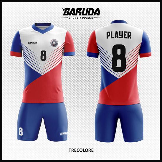Desain Kostum Futsal Warna Putih Biru Merah Paling Keren