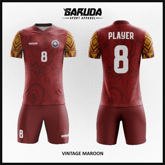 Desain Seragam Futsal Warna Merah Maroon Motif Batik Modern