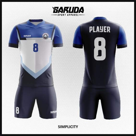 Desain Jersey Futsal Warna Biru Putih Hitam Minimalis Tapi Berkelas