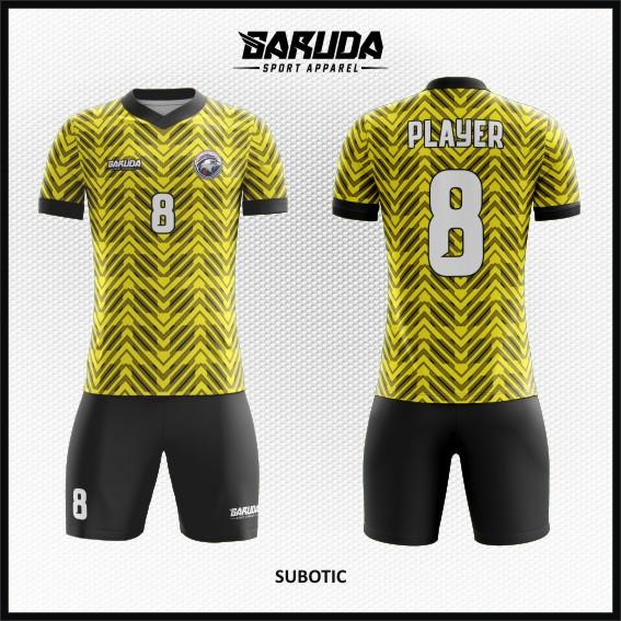 Desain Jersey Futsal Warna Kuning Hitam Motif Bergelombang Modern