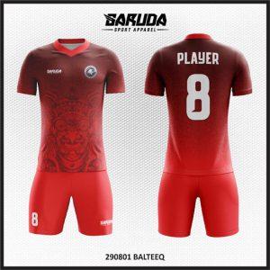 Desain Kostum Futsal Warna Merah Motif Budaya Bali