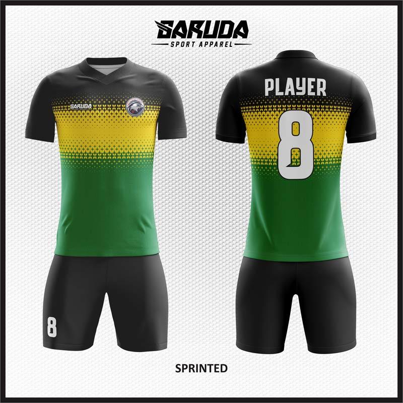 Desain Baju Futsal Warna Hitam Kuning Hijau Terlihat Dinamis