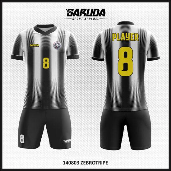 Desain Kostum Futsal Yang Elegan Warna Hitam Putih
