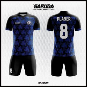 Desain Kostum Bola Dan Futsal Full Print Warna Biru Hitam