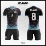 Desain Jersey Futsal Printing Warna Hitam Bergelembung