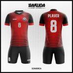 Desain Jersey Baju Futsal Merah Hitam Yang Elegan