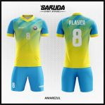 Desain Baju Futsal Warna Biru Kuning Yang Menarik