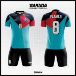 Desain Kaos Bola Futsal Full Printing Kombinasi Biru Merah Dan Hitam
