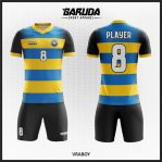 Desain Jersey Futsal Full Print Warna Biru Kuning Hitam Yang Keren