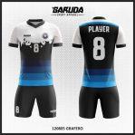 Desain Jersey Futsal Warna Hitam Putih Biru Yang Elegan