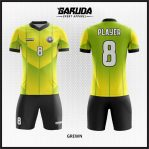 Desain Jersey Sepak Bola Warna Hijau Kuning List Hitam