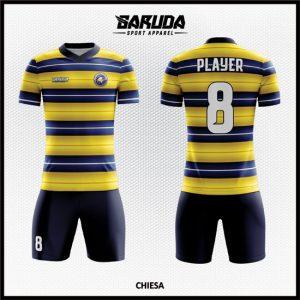 Desain Jersey Futsal Full Print Kombinasi Warna Kuning Biru Dan Hitam