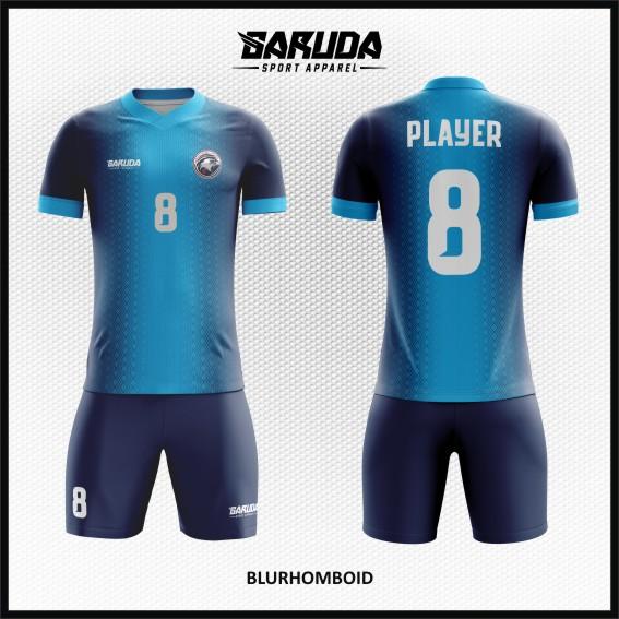 Desain Baju Futsal Full Printing Warna Biru Yang Kekinian