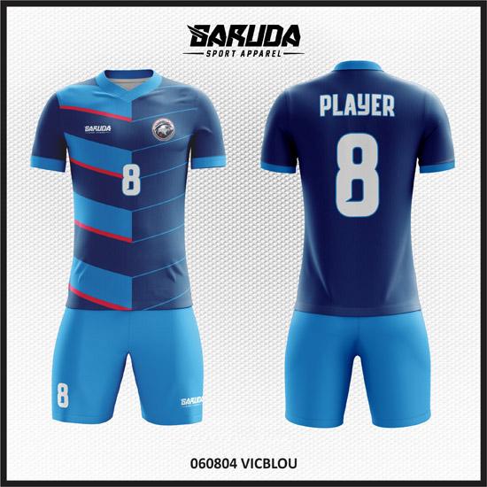 Desain Jersey Bola Futsal Printing Warna Biru Yang Gagah