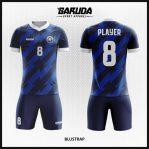 Desain Baju Futsal Printing Gradasi Warna Biru Dongker