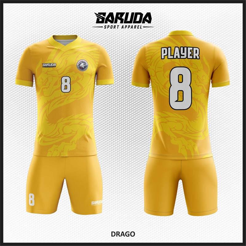 Desain Jersey Futsal Warna Kuning Motif Naga Yang Unik