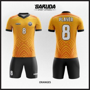 Desain Baju Futsal Warna Orange Motif Etnic Minimalis