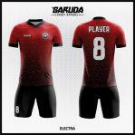 Desain Baju Sepak Bola Full Print Warna Merah Hitam Elegan