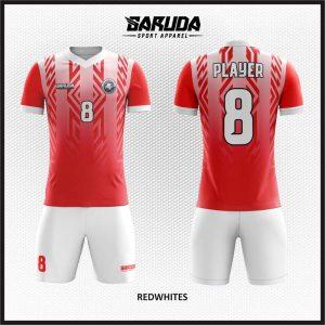Desain Kostum Bola Printing Warna Merah Putih