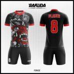 Desain Kaos Futsal Printing Warna Hitam Motif Barongsai