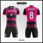 Desain Kostum Futsal Printing Warna Pink Hitam Motif Bunga