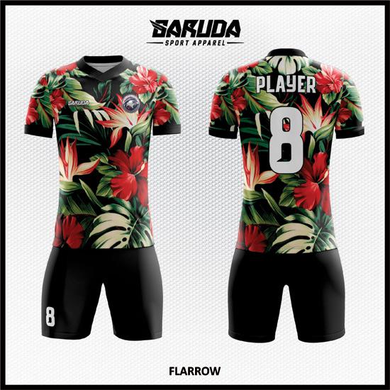 Desain Jersey Bola Futsal Full Printing Motif Bunga Yang Cantik