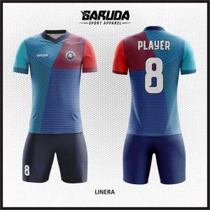 Desain Kaos Bola Printing Warna Biru Motif Zig Zag