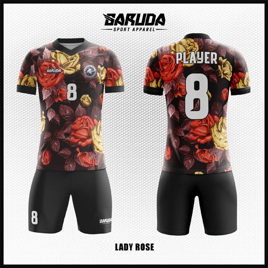 Desain Baju Futsal Printing Warna Hitam Bertabur Bunga