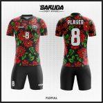 Desain Seragam Futsal Printing Warna Hitam Bertabur Bunga