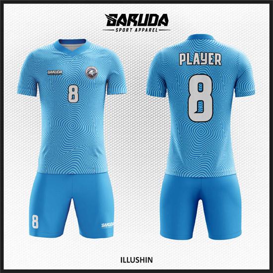 Desain Jersey Futsal Printing Warna Biru Ilusi Yang Unik