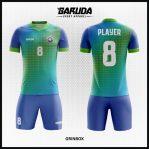Desain Baju Futsal Printing Gradasi Warna Hijau Biru Yang Memukau