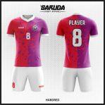 Desain Baju Futsal Full Print Merah Ungu Putih Yang Dinamis