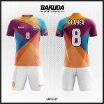 Desain Jersey Futsal Priting Warna Orange Biru Ungu Tampil Lebih Fresh